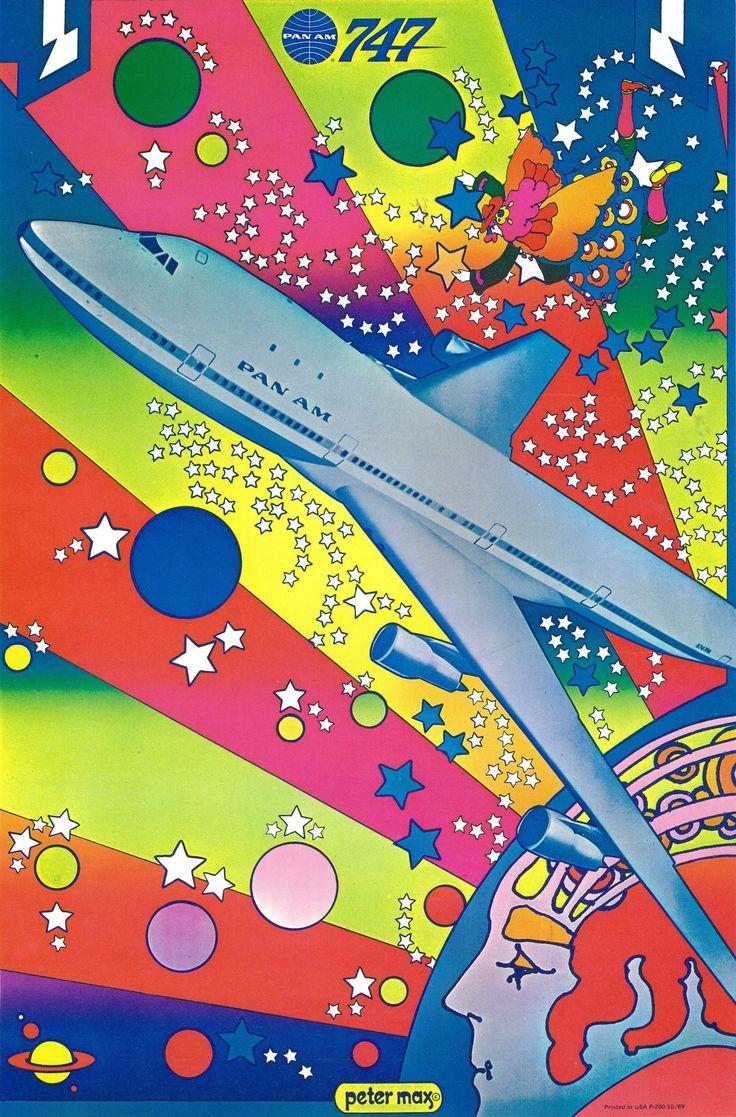 Pan am 747 peter max 1969 peter max art peter max