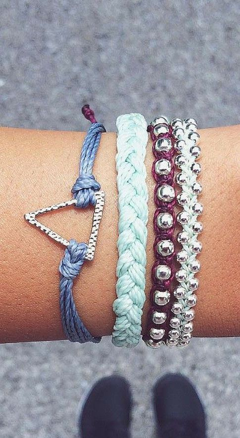 Stacked bohemian bracelets from Pura Vida are a great everyday look.