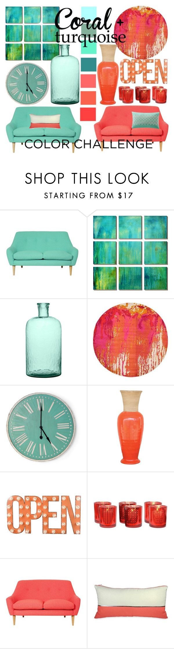Coral + Turqoise by clareceq29 on Polyvore featuring interior, interiors, interior design, home, home decor, interior decorating, H&M, Dot & Bo, DKNY and colorchallenge
