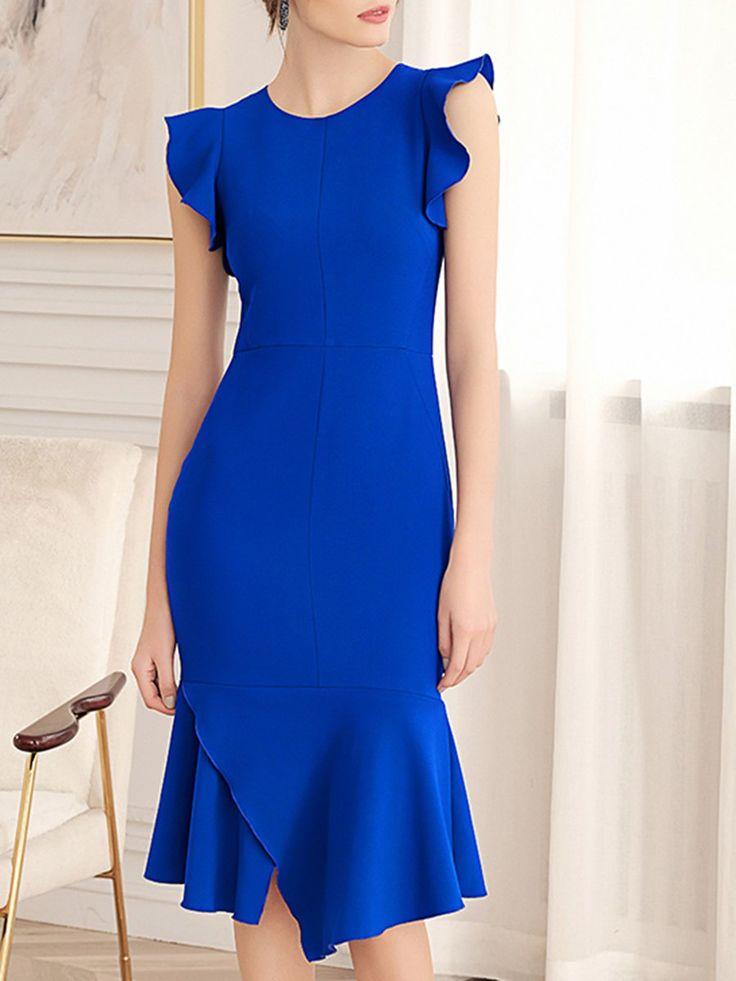 Stylewe Summer Dresses Sundress Date Sheath Crew Neck Ruffled Frill Sleeve Elega…