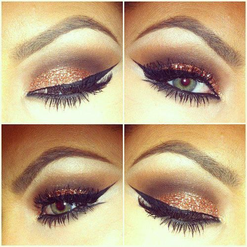 wow.. copper sparkle on green eyes