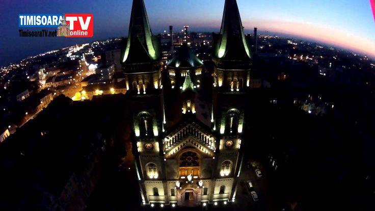 Biserica Millenium din Timisoara vazuta noaptea din drona