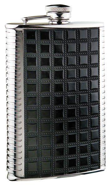 Фляга S.Quire 0,27 л , сталь+искусственная кожа, вставка черная с рисунком, D-Pro (959223)
