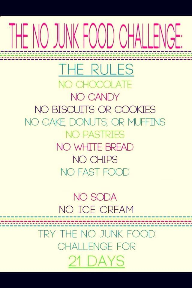 Trying To Loose Weight? Try The 21 Day No Junk Food Challenge !!! Plus Positive Words To Help
