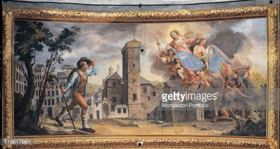 Arte : Apparition of Our Lady of the Garden to Sebastian Descalzo, by Baratta Carlo Alberto, 1805 - 1810, 19th Century, fresco