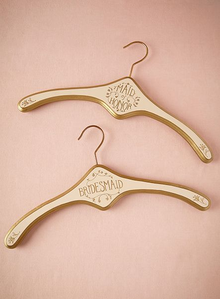 Elegant dress hangers for bridesmaids from BHLDN. Classic bridesmaid gift. - Melissa Jill Photography