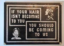 Vintage Beauty Shop Salon Hairdresser Barber Retro Sign
