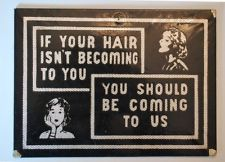 Vintage Beauty Shop Salon Hairdresser Barber Retro Sign