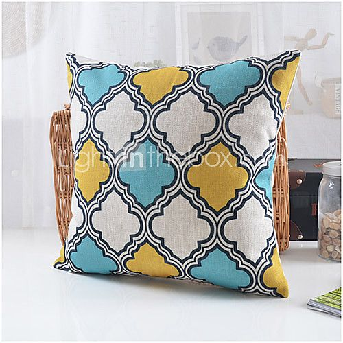 Country Style Geometric Pattern Cotton/Linen Decorative Pillow Cover Pillow covers, Country ...