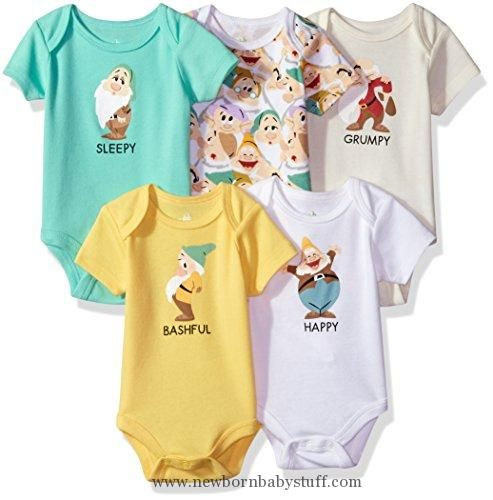 Baby Boy Clothes Disney Baby Boys' Snow Dwarves 5-Pack Bodysuit, Yellow/White Multi, 6/9