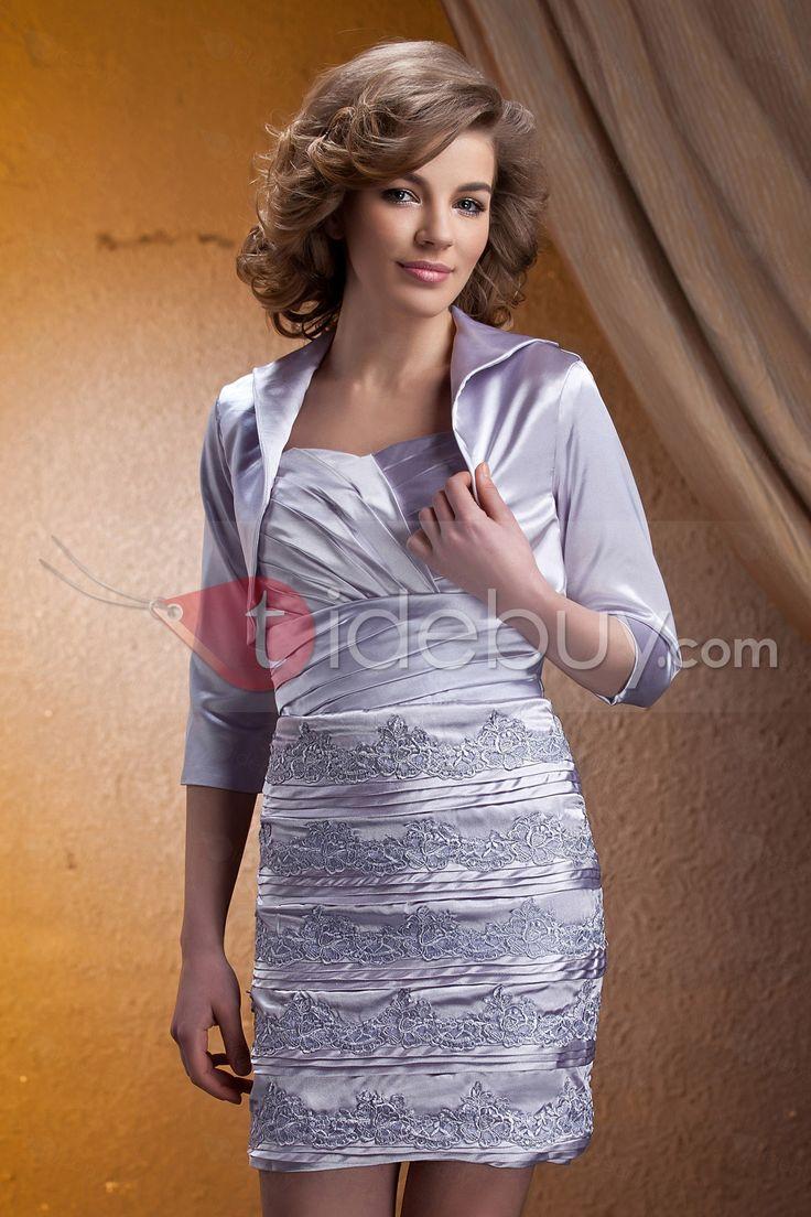 魅力的なアップリケ スレンダーライン 膝丈 スウィートハート 花嫁さんの母ドレス