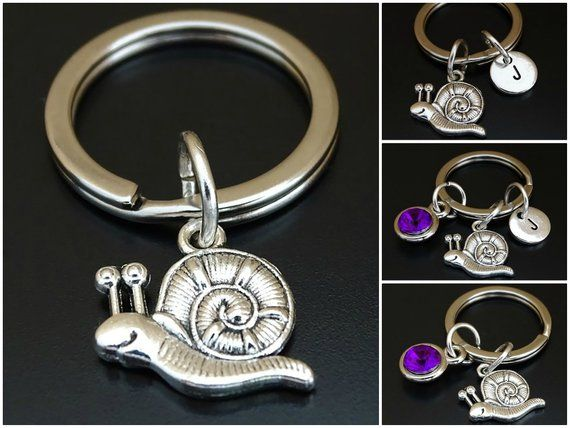 Snail Keychain Pendant Silver Made of Metal