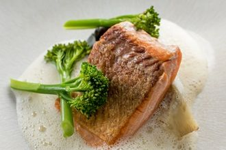 Sea trout with scallop tortellini, Tenderstem broccoli and scallop velouté