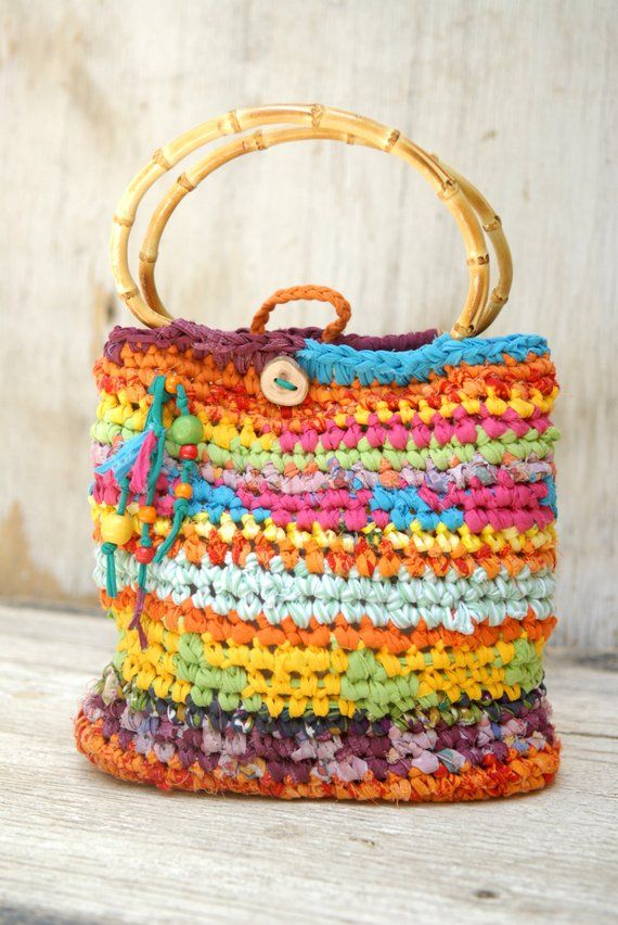 Colorful Crocheted Purse With Bamboo Handles Joyful Summer Handbag