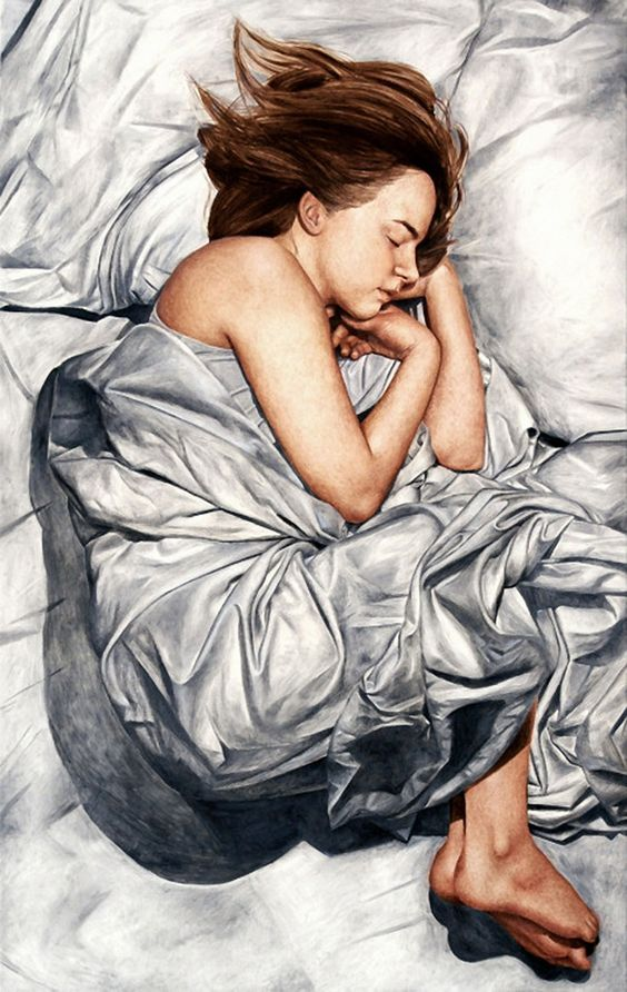 """The Science of Sleep II"" - Hanna Fideli Nordqvist, oil on canvas, 2012 {figurative realism art female sheets woman painting} hannafidelinordqvist.tumblr.com"