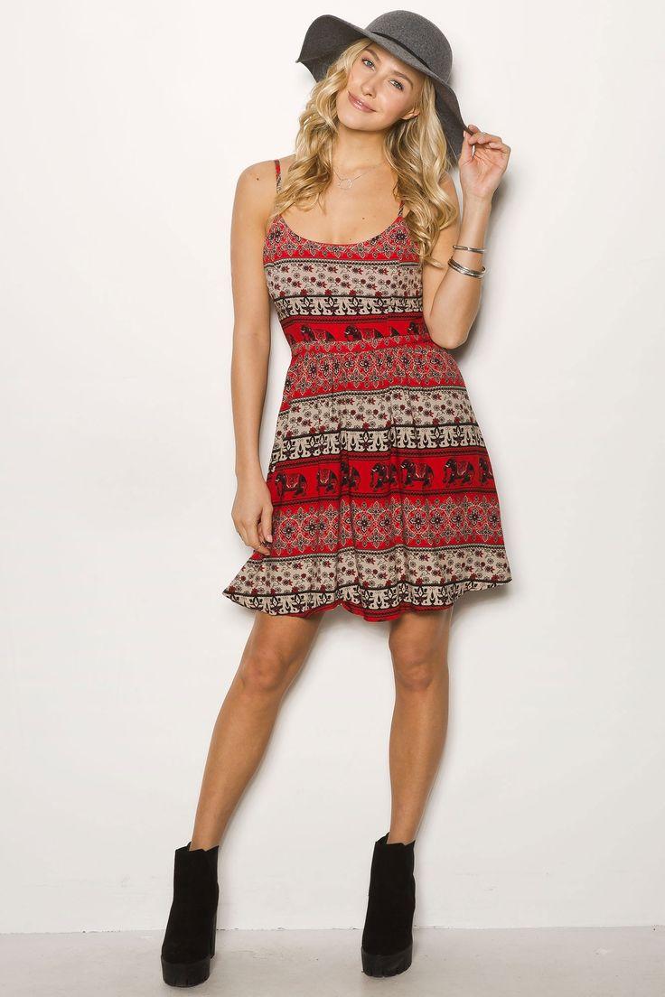 Printed Boho Open Back Skater Dress $19.99