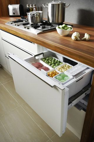 Modular pull-out refrigerator | Small Kitchen Designs