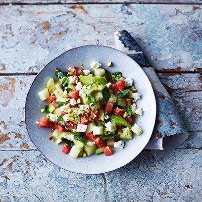 Melon, cucumber and feta salad