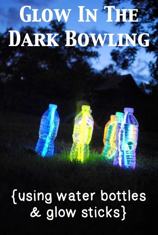 Water bottles and glow sticks make for perfect glow-in-th-dark backyard bowling pins. Make at least six of these, and use any kind of ball (basketball, soccer ball, etc.) to knock down your glowing pins.