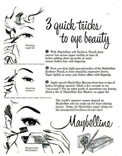 Vintage Maybelline ad from 1954: Quick Tricks, 1950S Eye, Quick 1950S, 1950S Maybelline, Maybelline Ads, Vintage Beautiful, Vintage Ads, Eye Beautiful, Three Quick