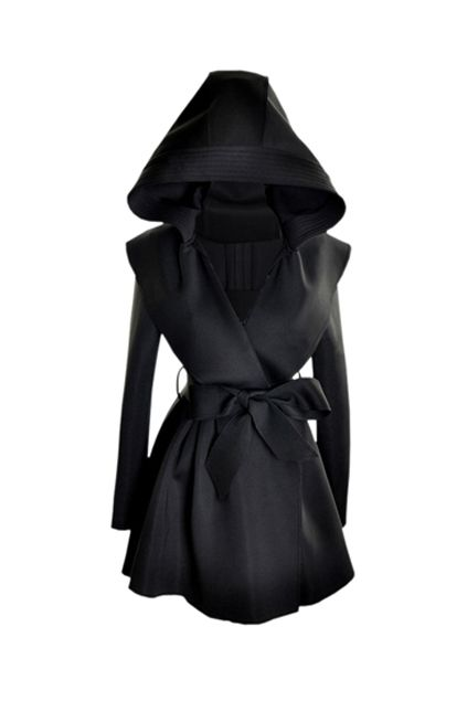 Slim Hooded Black Trench Coat..