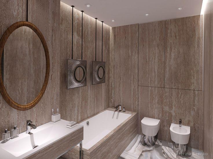 зеркало над ванной, травертин в ванной комнате,какие зеркала в ванную