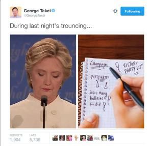 The best jokes, tweets and memes reacting to the third and final presidential debate between Donald Trump and Hillary Clinton.: During Last Night's Trouncing