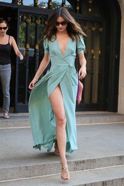 Thigh High Slit Faded Turquoise Wrap Dress On Miranda I