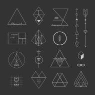 トレンディな幾何学模様のアイコンをベクトルします。Alchemy 記号のコレクションです。