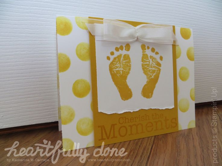 Gender neutral baby card with stamp set 'Baby Prints' by Stampin' Up! Card with two little feet, polka dots and organza ribbon.