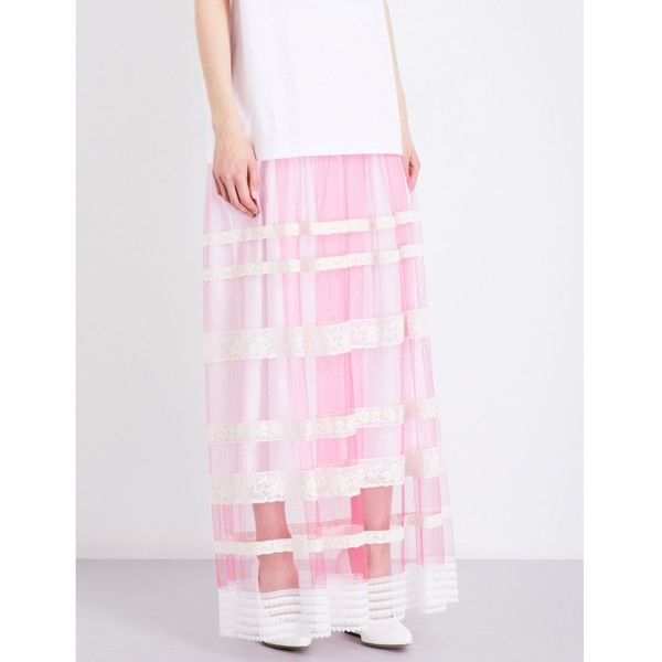 Burberry Floral lace-trim tulle maxi skirt ($2,145) ❤ liked on Polyvore featuring skirts, long floral maxi skirt, long tulle skirt, pink tulle maxi skirt, long pleated maxi skirt and long maxi skirts