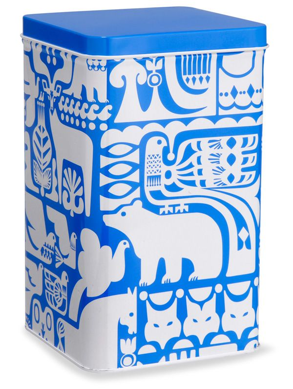 Tin caddy by designer Sanna Annukka. Annukka is clearly influenced by folk artists from her native Finland and beyond. Folk art is often associated with the decoration of everyday objects and it's interesting to note that her work has increasingly found a home on surfaces other than paper.