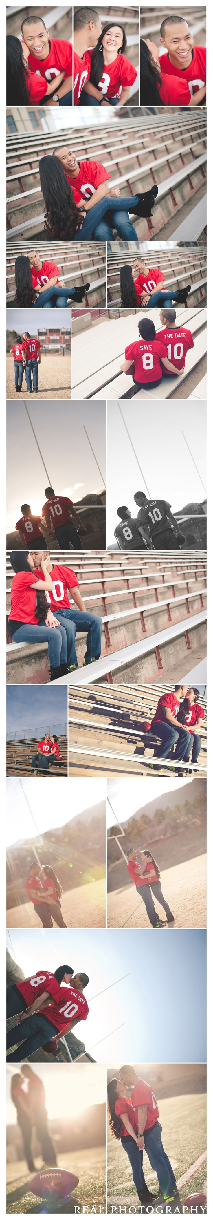 football themed engagement shoot ideas save the date