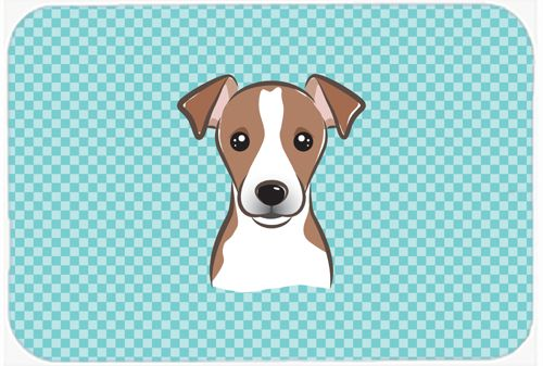 Checkerboard Blue Jack Russell Terrier Mouse Pad - Hot Pad or Trivet BB1198MP #artwork #artworks