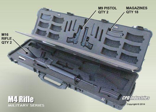 Dual (2) M16 Rifles with (2) M9 Handguns Combination Case