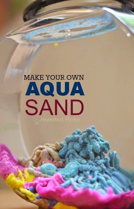 Amazingly fun ways to play with sand including recipes for aqua sand, magic sand, sand slime, sand paint, homemade colored sand, and how to make a sand volcano