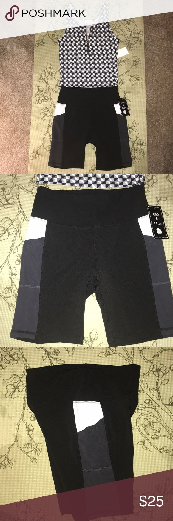 Women's biker shorts gym outfit Super cute outfit for the gym or a run or athl...