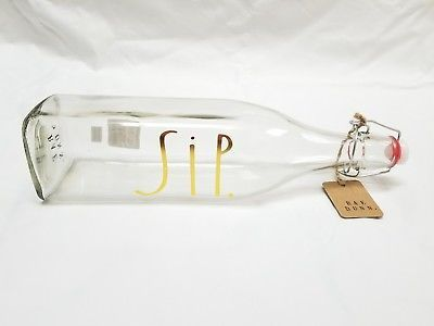 Rae Dunn Sip Glass Bail and Trigger Bottle Christmas Holiday Gold Lettering New