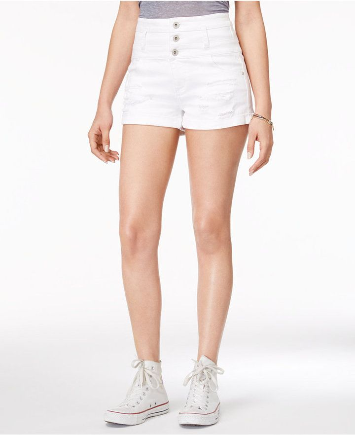 Tinseltown Juniors' Three-Button High-Waist Ripped Denim Shorts