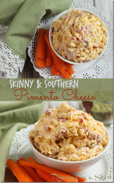 Skinny Pimento Cheese recipe. Homemade & easy pimento cheese with greek yogurt.  A healthy twist!  Use as a spread or a dip. Tastes just like grandmas! / Running in a Skirt