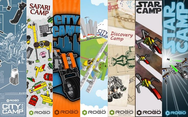 Each RoboCAMP's package has its own designs of: posters, diploma, banners, desktop wallpaper and videos and images with particular robots from the packages.
