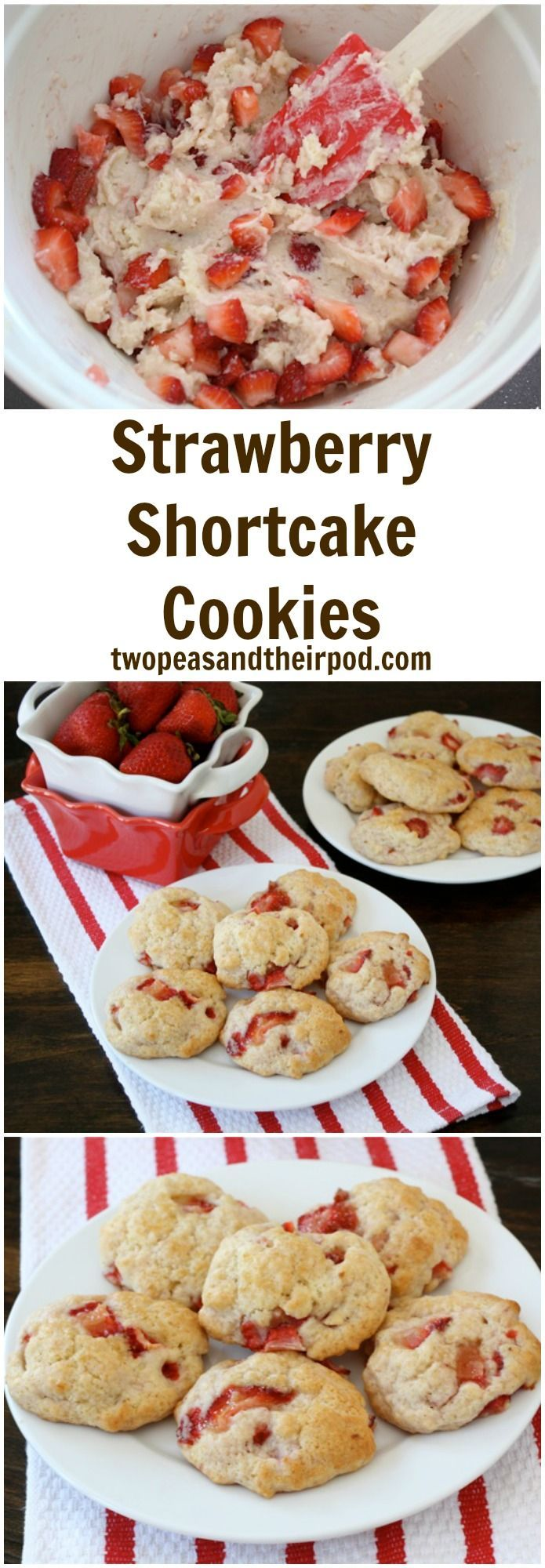 Strawberry Shortcake Cookie Recipe on http://twopeasandtheirpod.com If you like strawberry shortcake, you will LOVE these cookies! They are the perfect dessert for spring!