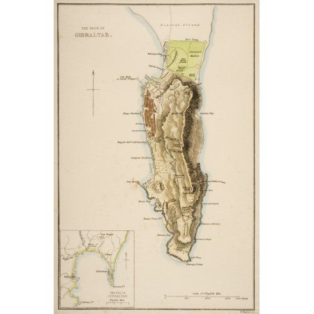 19Th Century Map Of The Rock Of Gibraltar Canvas Art - Ken Welsh Design Pics (11 x 18)