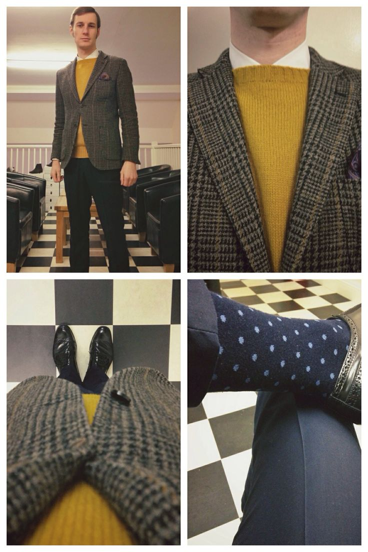 Brown & Black Tweed Patch Pocket Jacket - White Button-down Shirt - Mustard Shetland Knit Crew Neck - Navy Flat Fronted Trousers - Black Shoes & Belt - Paisley Pocket Square - Navy Polka Dot Socks