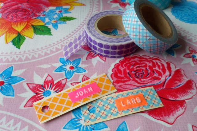 De combinatie van washi tape & lettertang.