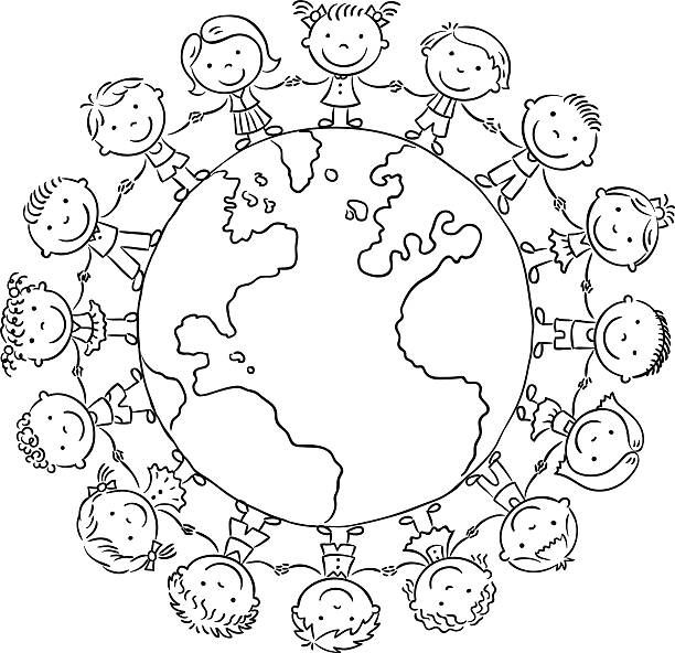 Children Round The Globe, Black And White Outline Earth Day Coloring  Pages, Coloring Pages, Coloring Pages For Kids