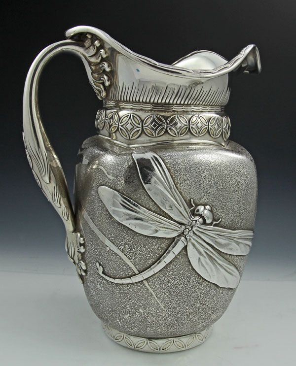 Rare Whiting antique sterling water pitcher with applied dragonfly