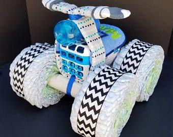 Diaper four wheeler, diaper bike, diaper centerpiece, four wheeler diaper cake, diaper cake, baby shower gift, unique baby gift