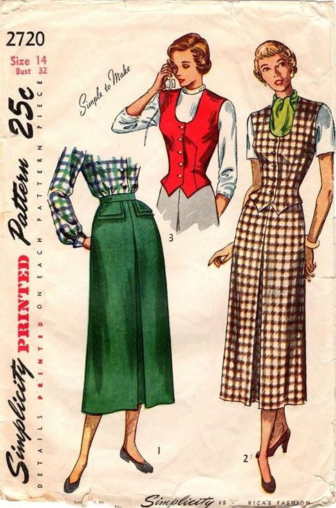 """Simplicity 2720. 1949 Skirt and Weskit. Bust 32"""". Original. Complete."""