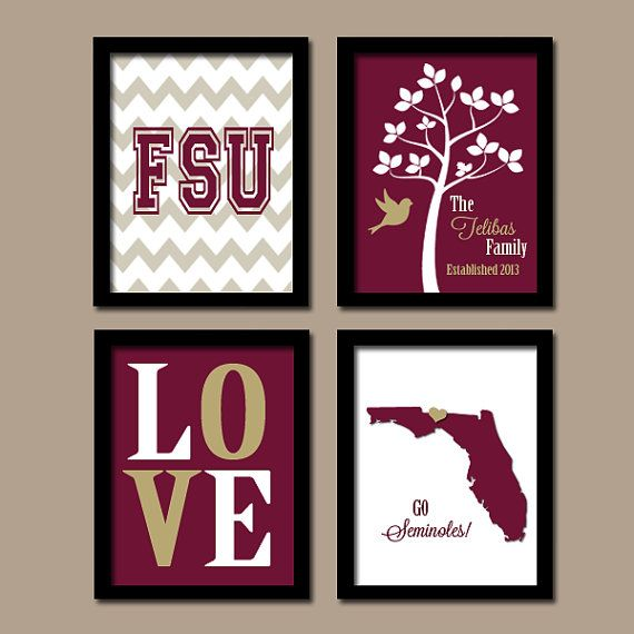 FSU Florida State University College Go Seminoles Custom Family Monogram Initial LOVE Bird Tree Wedding Set of 4 Prints Wall ART Graduation on Etsy, $35.00